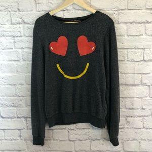 Wildfox Medium Sweatshirt Heart Smiley Face